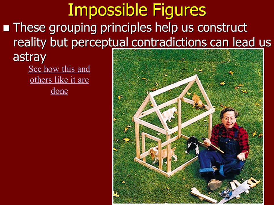 Impossible Figures These grouping principles help us construct reality but perceptual contradictions can lead us astray These grouping principles help us construct reality but perceptual contradictions can lead us astray See how this and others like it are done