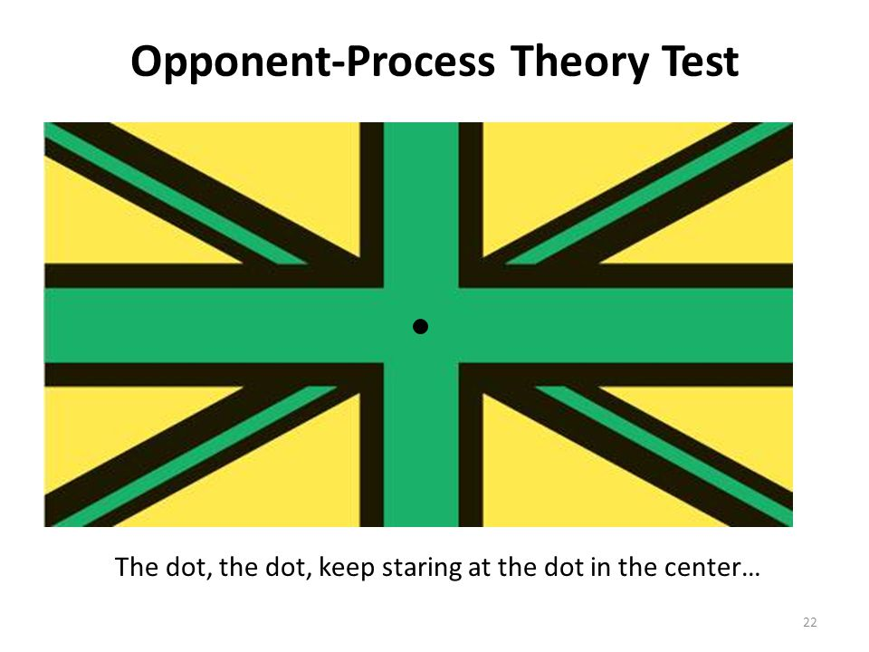 Opponent-Process Theory Test The dot, the dot, keep staring at the dot in the center… 22