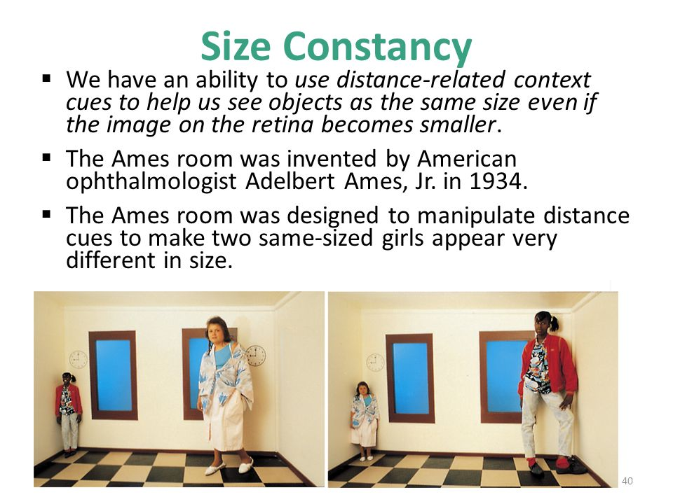 Size Constancy  We have an ability to use distance-related context cues to help us see objects as the same size even if the image on the retina becom