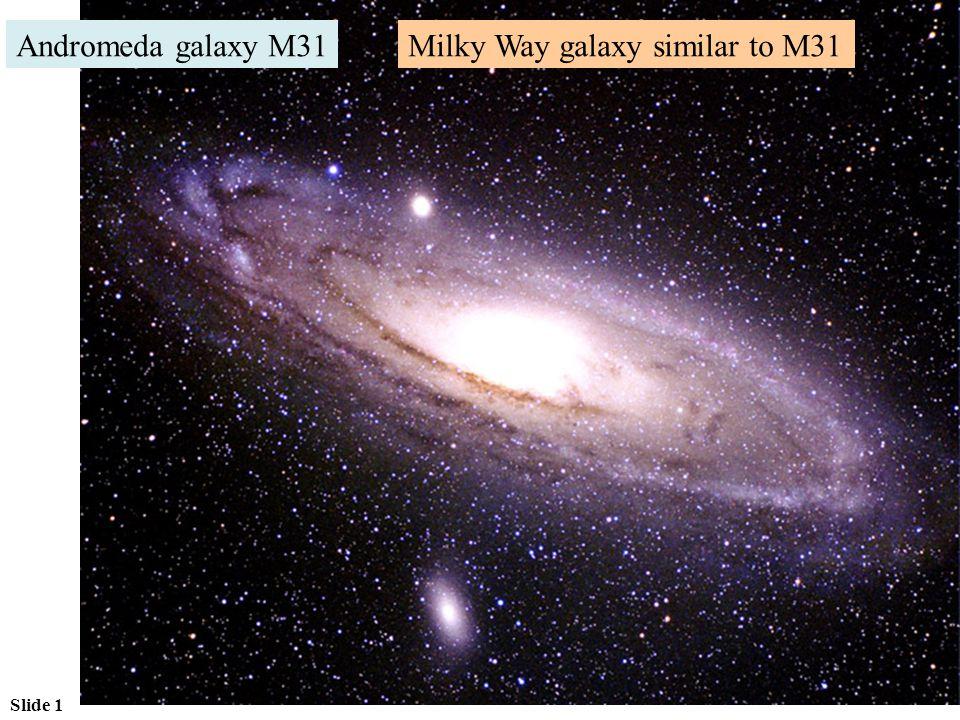 Slide 1 Andromeda galaxy M31Milky Way galaxy similar to M31