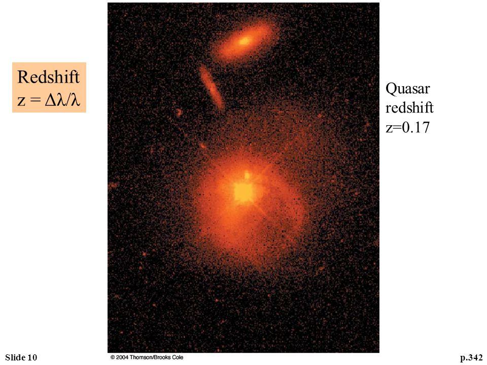 Slide 10p.342 Quasar redshift z=0.17 Redshift z = Δλ/λ