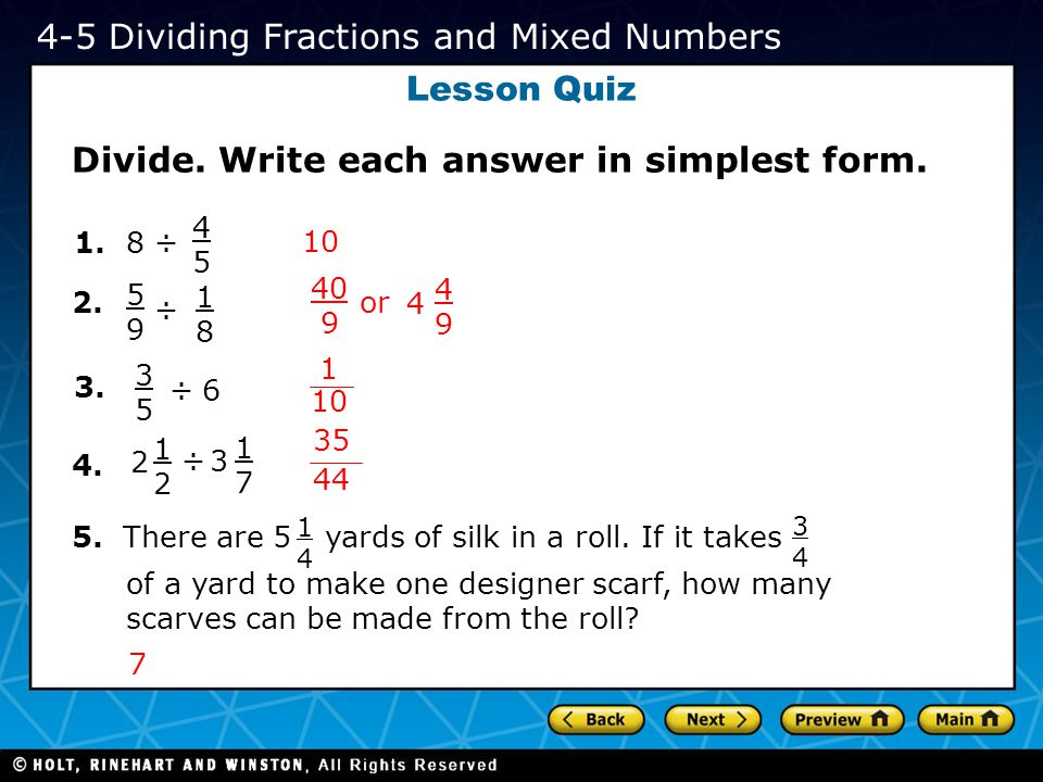 Lesson Quiz Solve.Write each answer in simplest form.