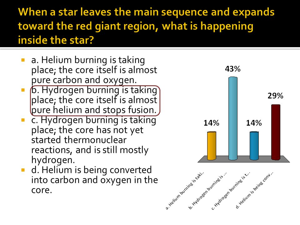  a. Helium burning is taking place; the core itself is almost pure carbon and oxygen.