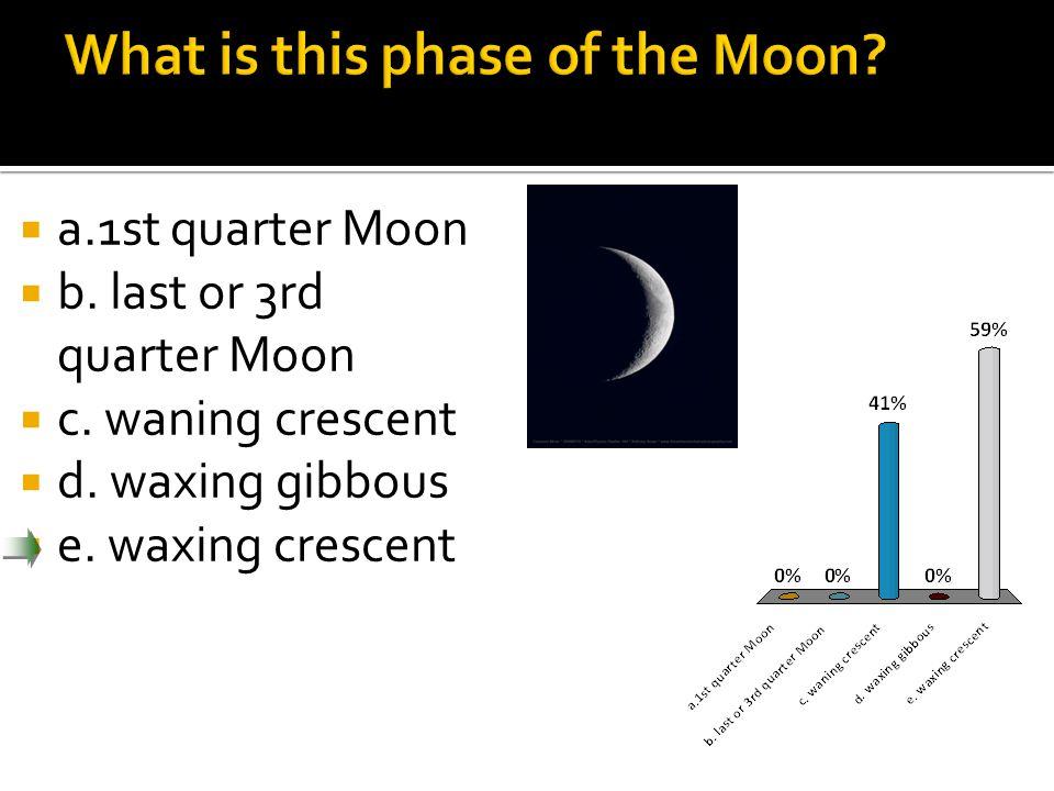  a.1st quarter Moon  b. last or 3rd quarter Moon  c.