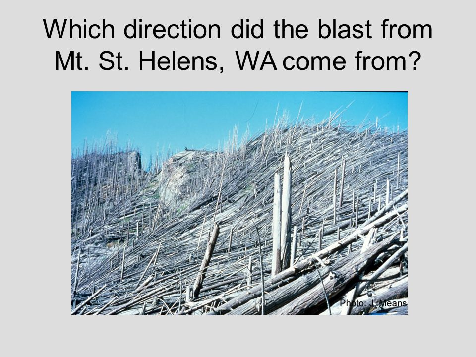 Which direction did the blast from Mt. St. Helens, WA come from