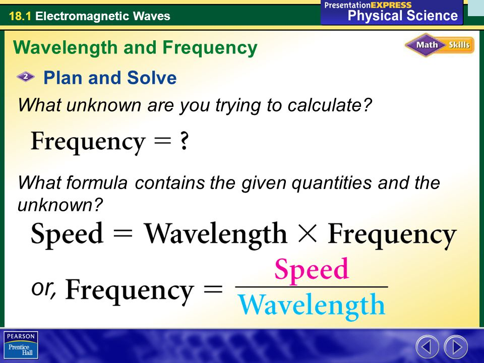 18.1 Electromagnetic Waves Plan and Solve What unknown are you trying to calculate.