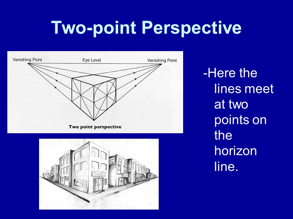 Two-point Perspective -Here the lines meet at two points on the horizon line.