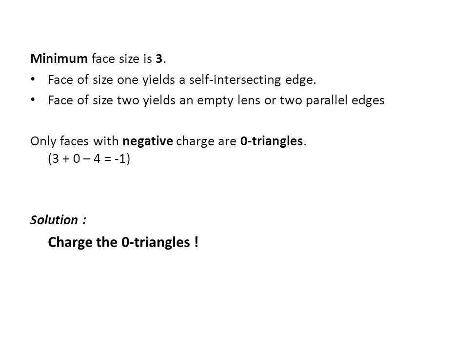 Minimum face size is 3. Face of size one yields a self-intersecting edge. Face of size two yields an empty lens or two parallel edges Only faces with