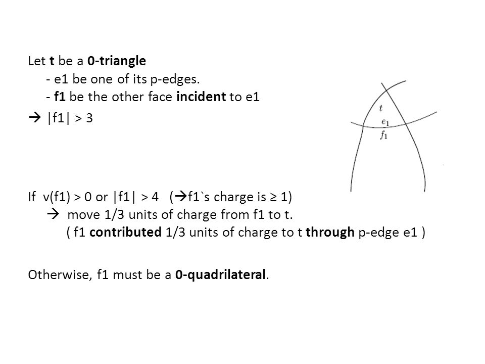 Let t be a 0-triangle - e1 be one of its p-edges. - f1 be the other face incident to e1  |f1| > 3 If v(f1) > 0 or |f1| > 4 (  f1`s charge is ≥ 1) 