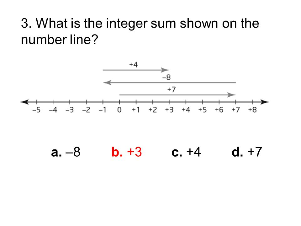 3. What is the integer sum shown on the number line a. –8b. +3c. +4d. +7