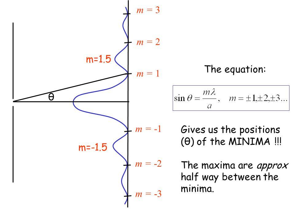 m = 3 m = 2 m = 1 m = -1 m = -2 m = -3 m=1.5 m=-1.5 θ The equation: Gives us the positions (θ) of the MINIMA !!.