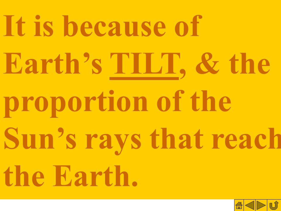 It is because of Earth's TILT, & the proportion of the Sun's rays that reach the Earth.
