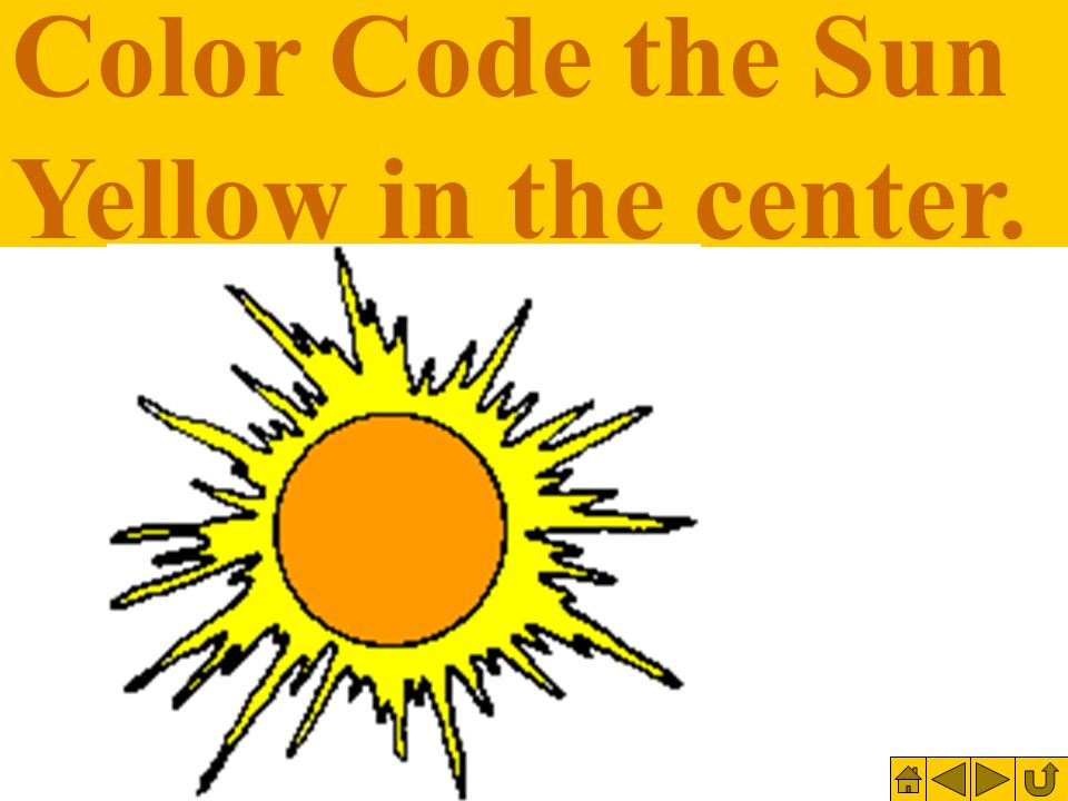 Color Code the Sun Yellow in the center.
