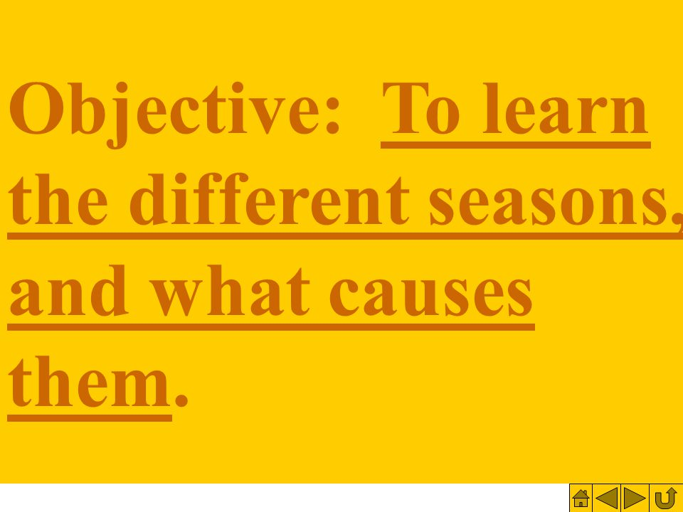 Objective: To learn the different seasons, and what causes them.