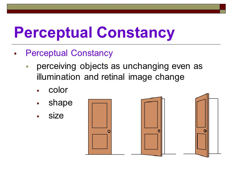 Perceptual Constancy  Perceptual Constancy  perceiving objects as unchanging even as illumination and retinal image change  color  shape  size