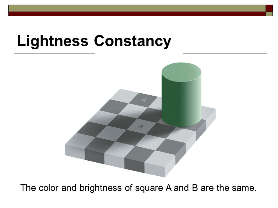 Lightness Constancy The color and brightness of square A and B are the same.