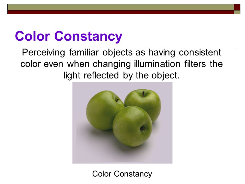 Perceiving familiar objects as having consistent color even when changing illumination filters the light reflected by the object.