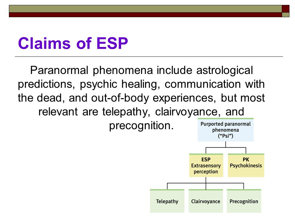 Claims of ESP Paranormal phenomena include astrological predictions, psychic healing, communication with the dead, and out-of-body experiences, but most relevant are telepathy, clairvoyance, and precognition.