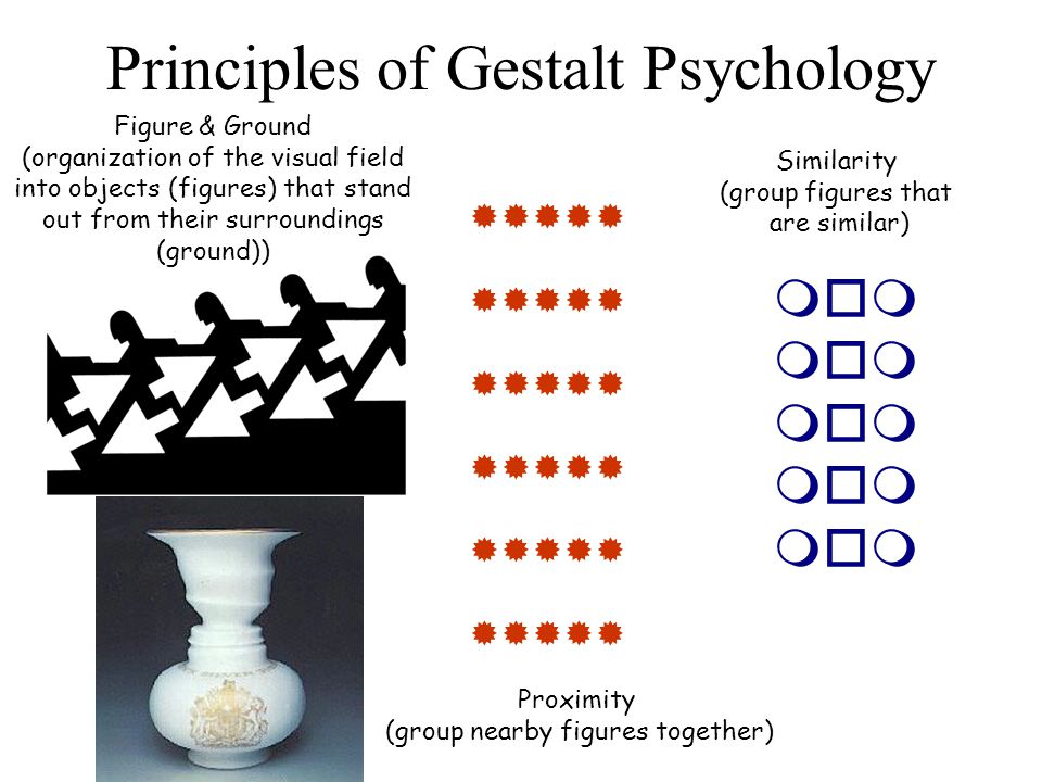 Principles of Gestalt Psychology Proximity (group nearby figures together)  Similarity (group figures that are similar)  Figure & Ground (orga