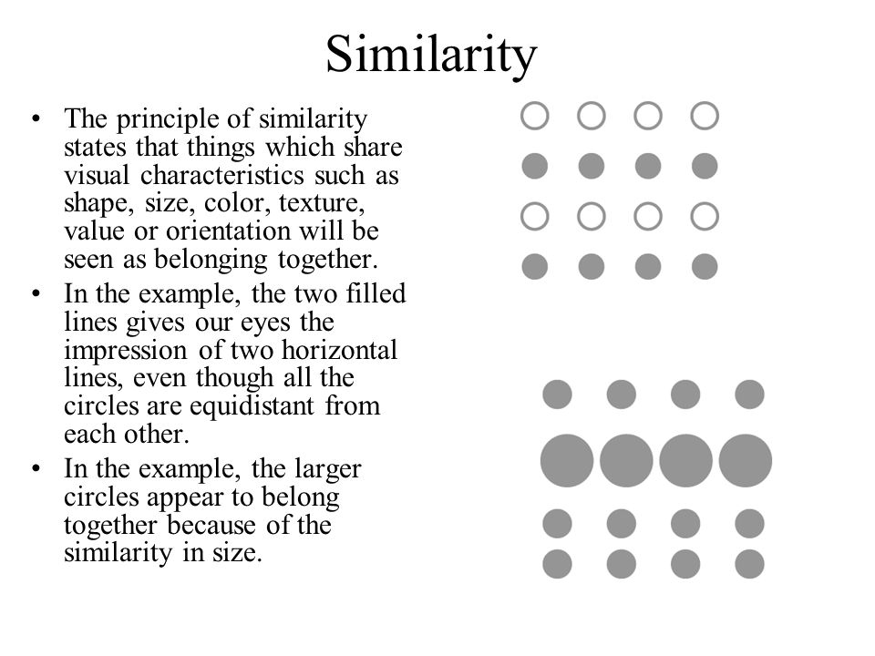 Similarity The principle of similarity states that things which share visual characteristics such as shape, size, color, texture, value or orientation