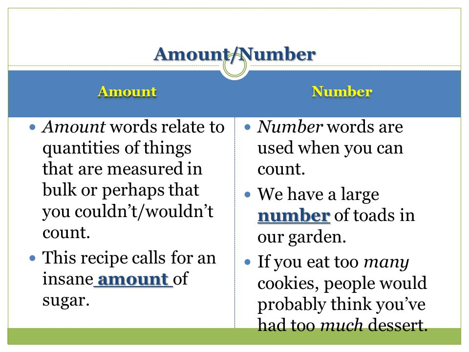 AmountAmount Amount words relate to quantities of things that are measured in bulk or perhaps that you couldn't/wouldn't count.