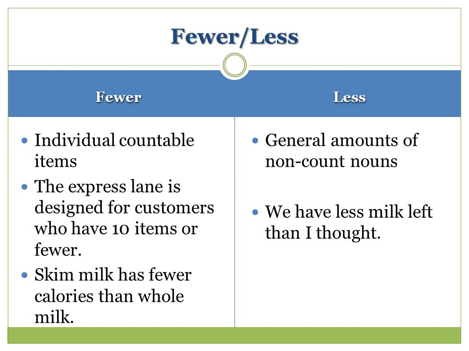 FewerFewerLessLess Individual countable items The express lane is designed for customers who have 10 items or fewer.