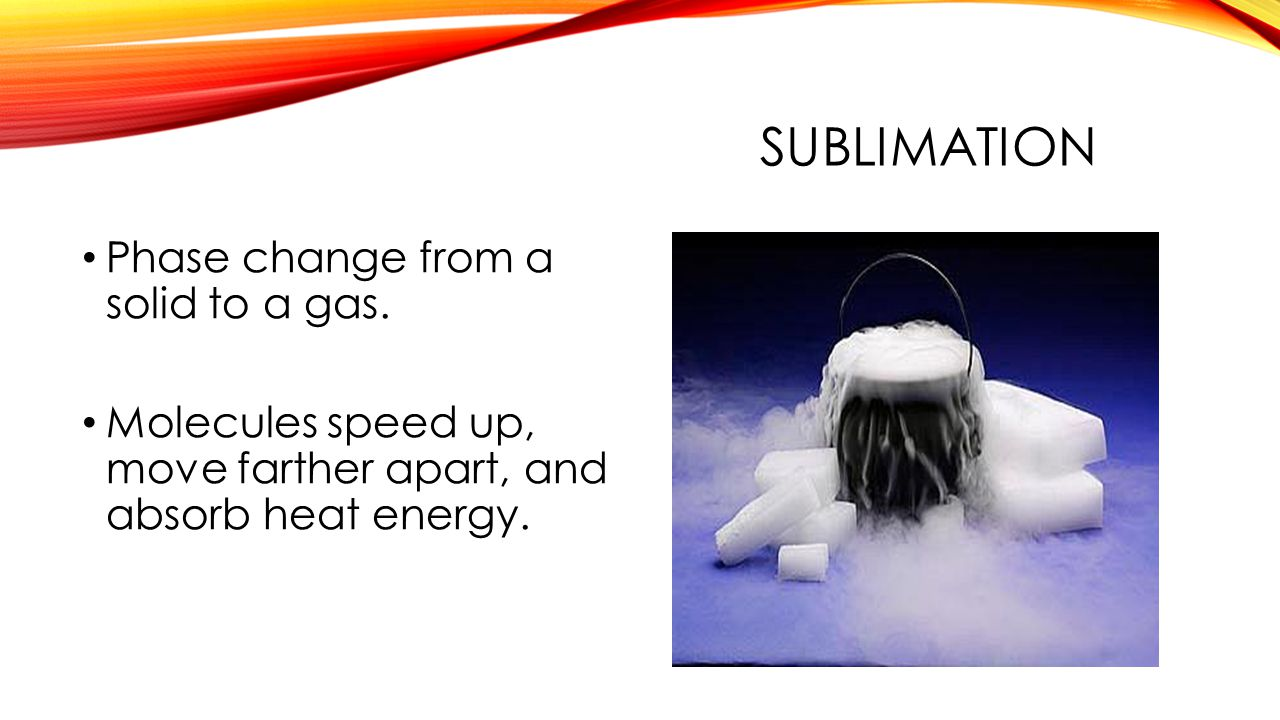SUBLIMATION Phase change from a solid to a gas. Molecules speed up, move farther apart, and absorb heat energy.