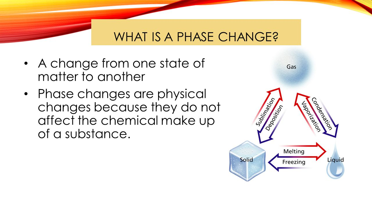 WHAT HAPPENS DURING A PHASE CHANGE.