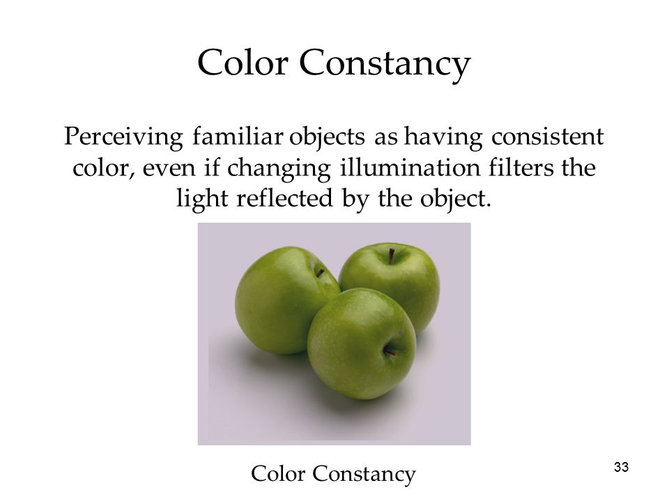 33 Perceiving familiar objects as having consistent color, even if changing illumination filters the light reflected by the object. Color Constancy