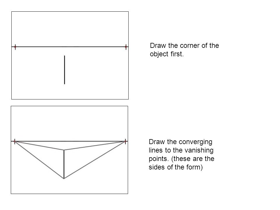 Draw the corner of the object first.Draw the converging lines to the vanishing points.