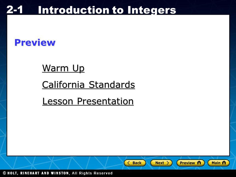 Holt CA Course 1 2-1 Introduction to Integers Lesson Quiz: Part I Compare.