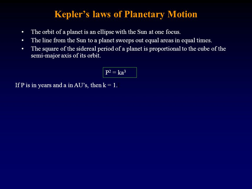 Kepler's laws of Planetary Motion The orbit of a planet is an ellipse with the Sun at one focus. The line from the Sun to a planet sweeps out equal ar