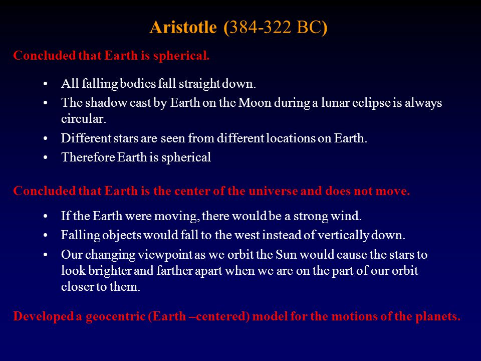 Aristotle (384-322 BC) All falling bodies fall straight down. The shadow cast by Earth on the Moon during a lunar eclipse is always circular. Differen
