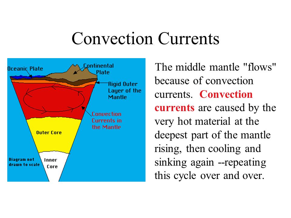 Convection Currents The middle mantle flows because of convection currents.