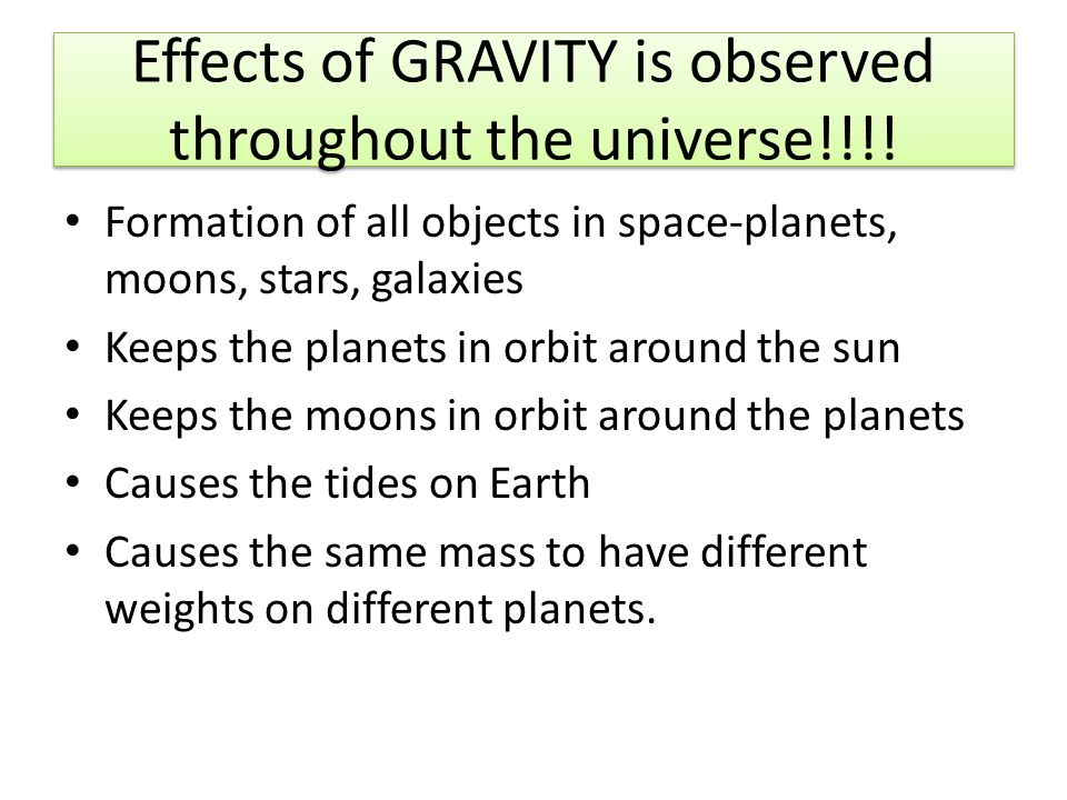 Effects of GRAVITY is observed throughout the universe!!!.