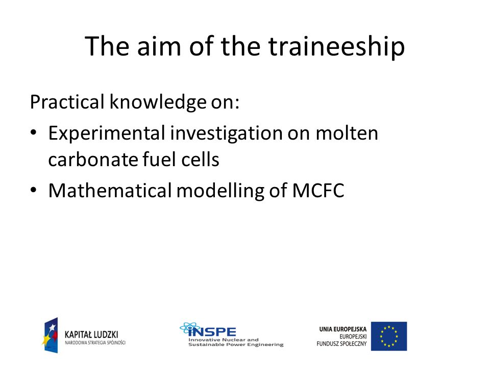The aim of the traineeship Practical knowledge on: Experimental investigation on molten carbonate fuel cells Mathematical modelling of MCFC