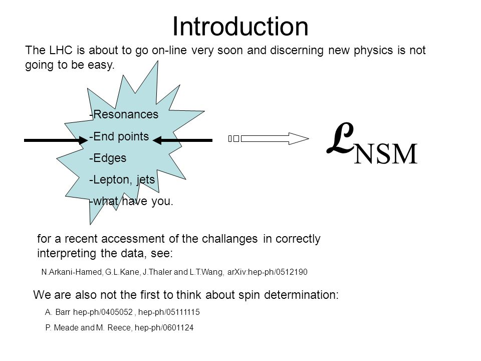 Introduction The LHC is about to go on-line very soon and discerning new physics is not going to be easy.