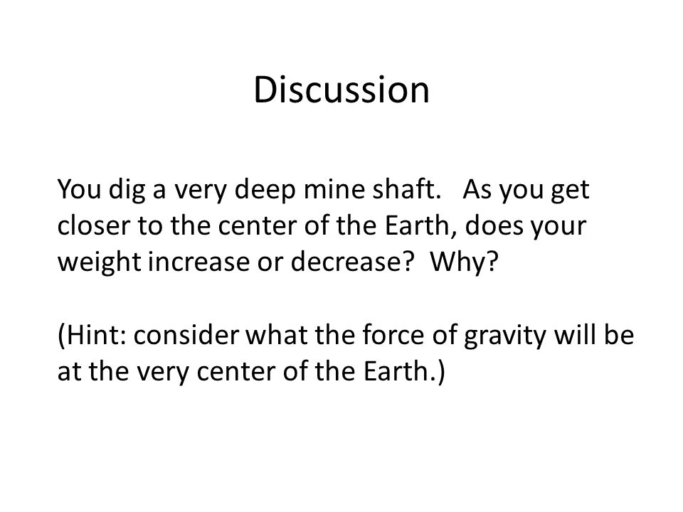 Discussion You dig a very deep mine shaft.