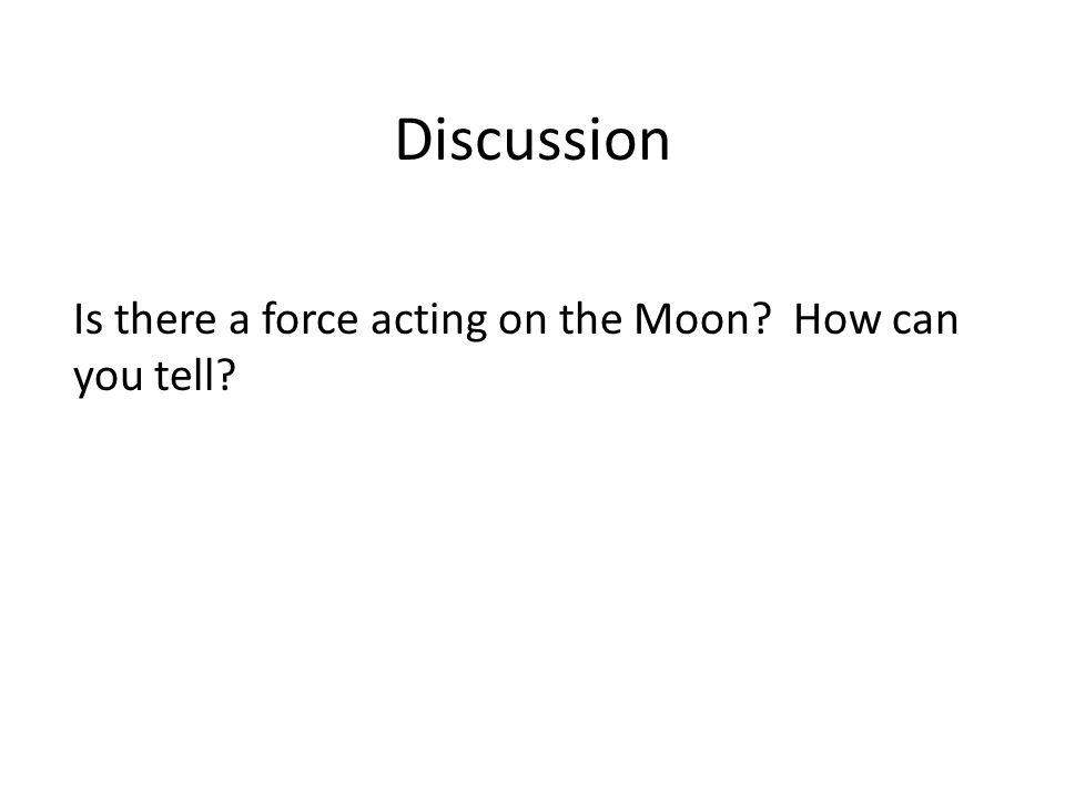 Discussion Is there a force acting on the Moon How can you tell