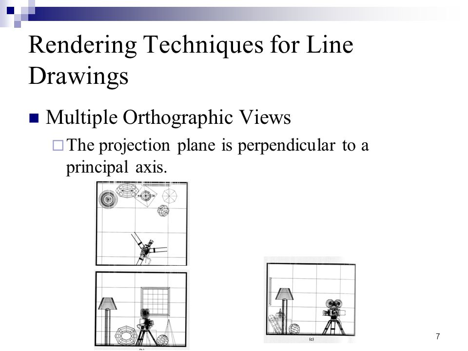 8 Rendering Techniques for Line Drawings Axonometric and Oblique  A point's z coordinates influences its x and y coordinates in the projection.