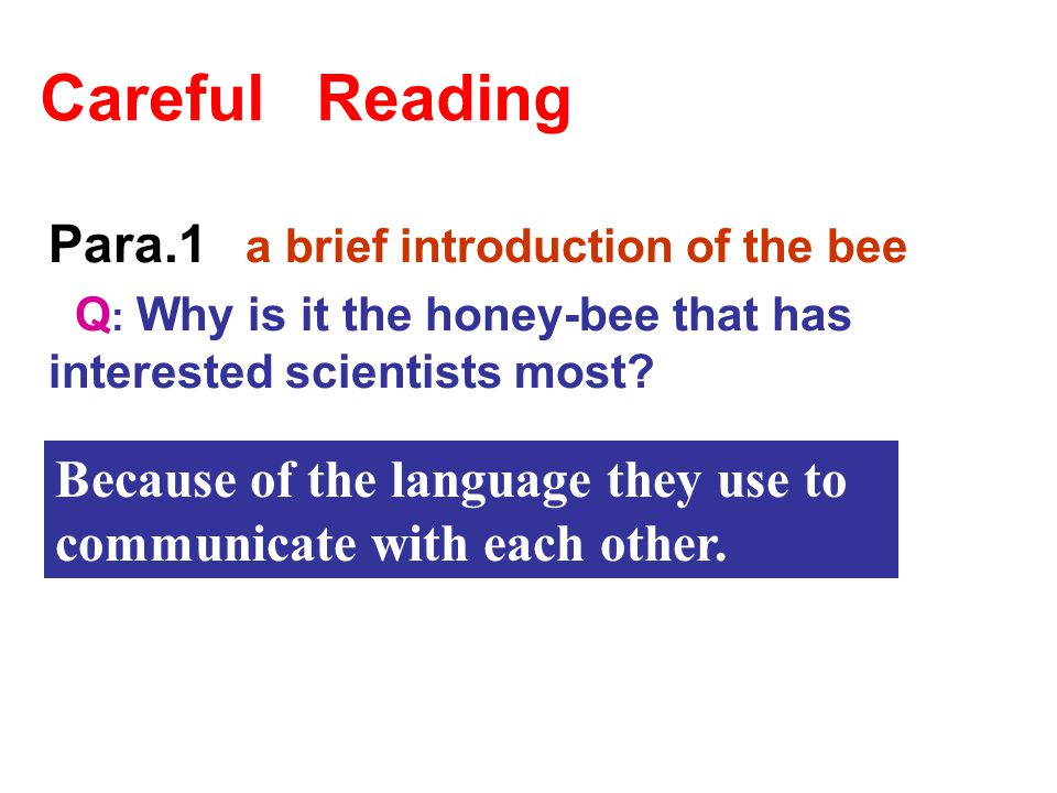 Para. 1 Para. 2 Para. 3 Para. 4 Para. 5 Para. 6 Para. 7 Para. 8 1.The circle dance 2. A brief introduction of the bee 3. Whether bees could tell each