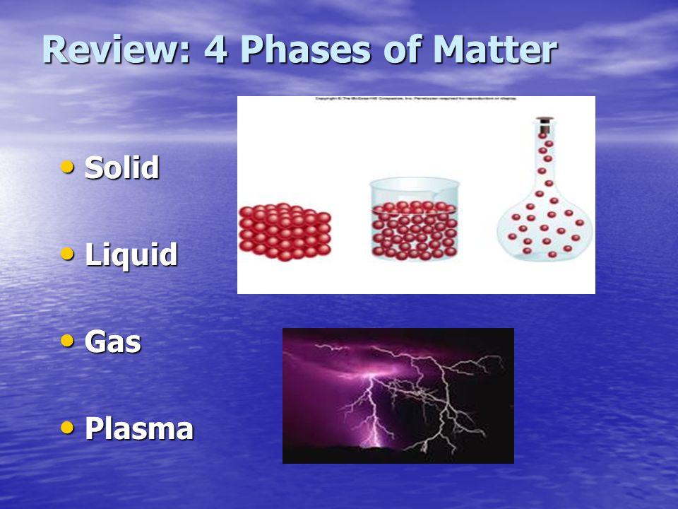 Review: 4 Phases of Matter Solid Solid Liquid Liquid Gas Gas Plasma Plasma