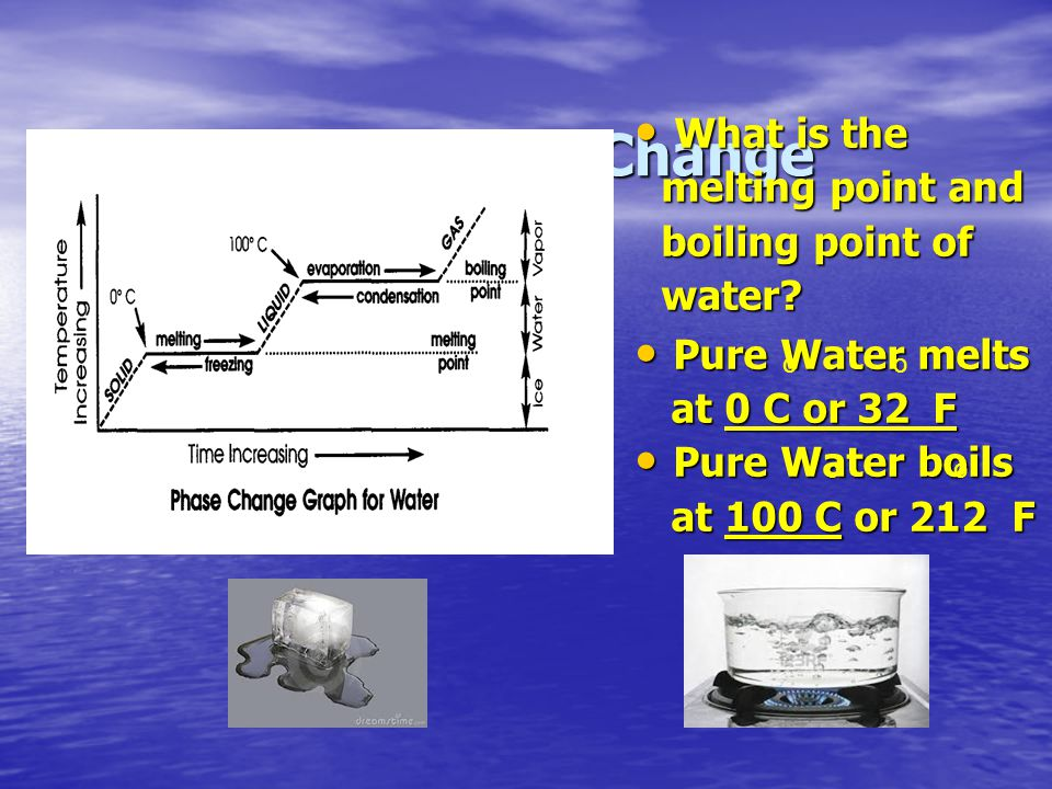 Graphing a Phase Change What is the melting point and boiling point of water? What is the melting point and boiling point of water? Pure Water melts P