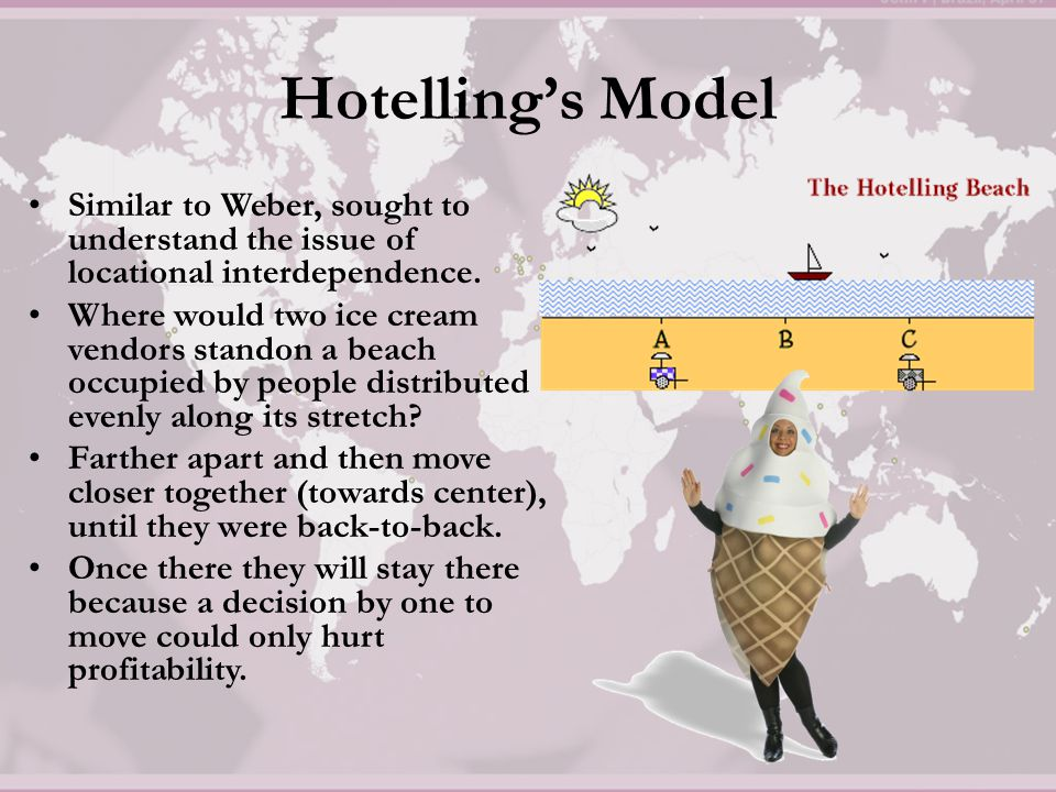 Hotelling's Model Location of an industry cannot be understood without reference to the location of other industries of like kind.