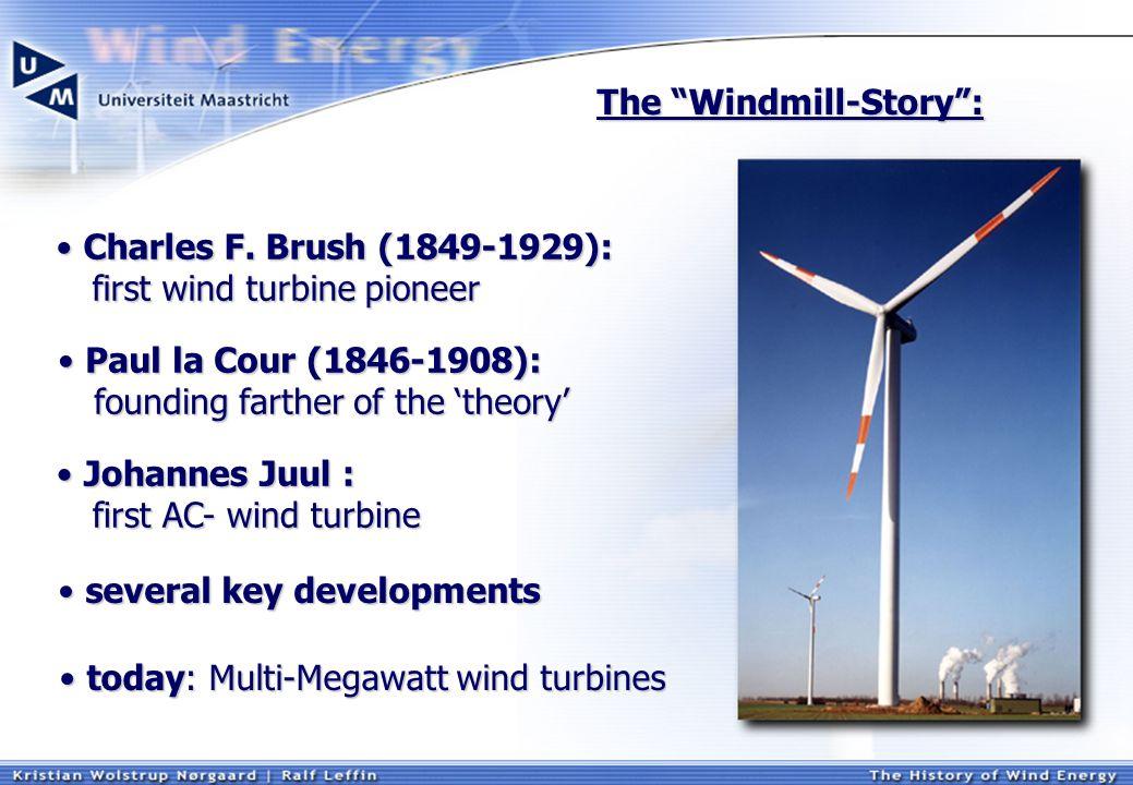 The Windmill-Story : today: Multi-Megawatt wind turbines today: Multi-Megawatt wind turbines several key developments several key developments Charles F.