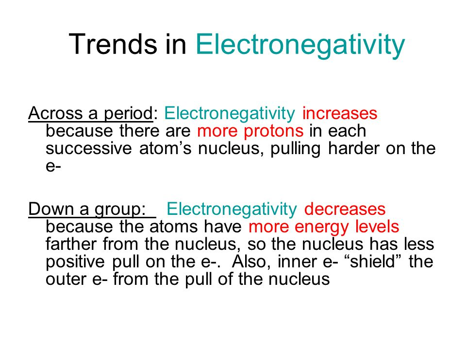 Trends in Electronegativity Across a period: Electronegativity increases because there are more protons in each successive atom's nucleus, pulling harder on the e- Down a group: Electronegativity decreases because the atoms have more energy levels farther from the nucleus, so the nucleus has less positive pull on the e-.