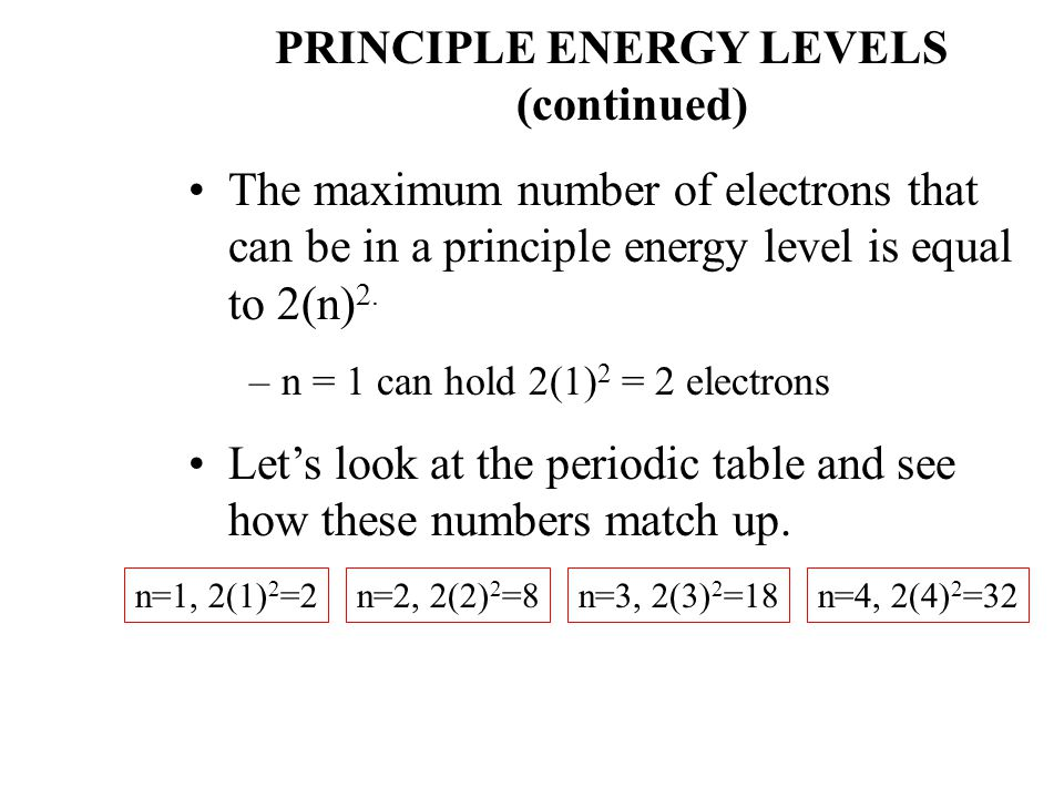 PRINCIPLE ENERGY LEVELS (continued) The maximum number of electrons that can be in a principle energy level is equal to 2(n) 2.