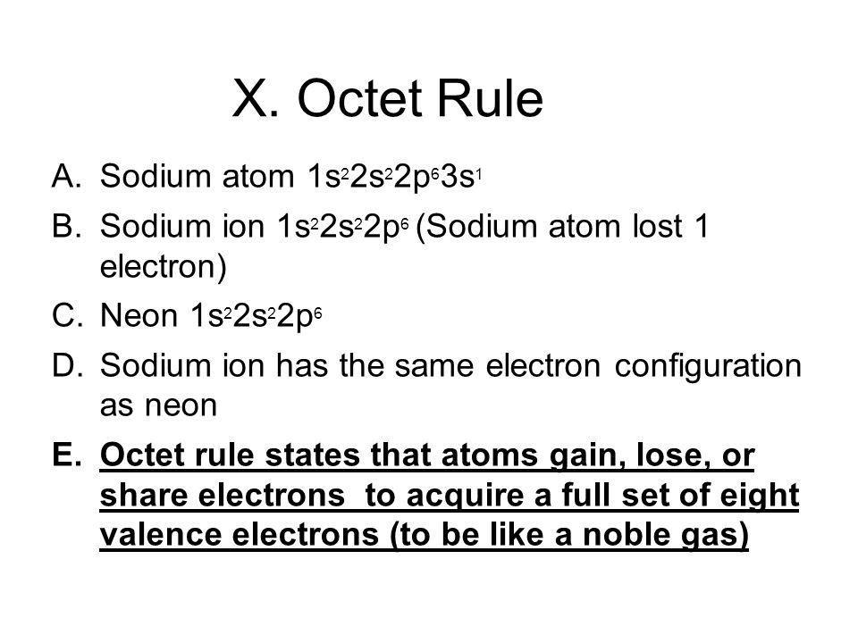 X. Octet Rule A. Sodium atom 1s 2 2s 2 2p 6 3s 1 B.