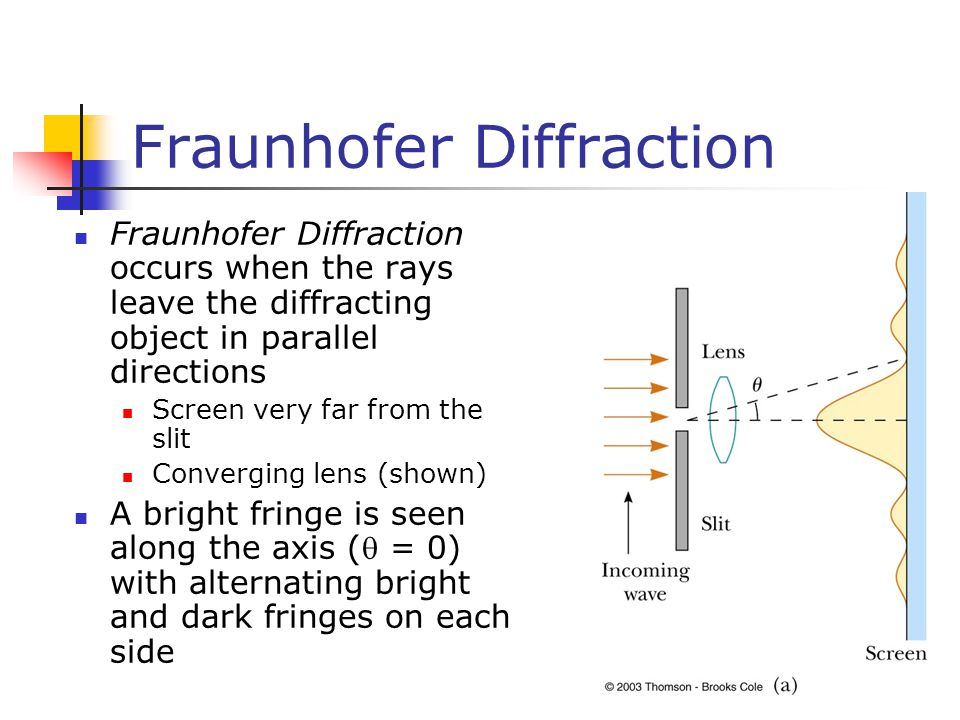 Fraunhofer Diffraction Fraunhofer Diffraction occurs when the rays leave the diffracting object in parallel directions Screen very far from the slit C