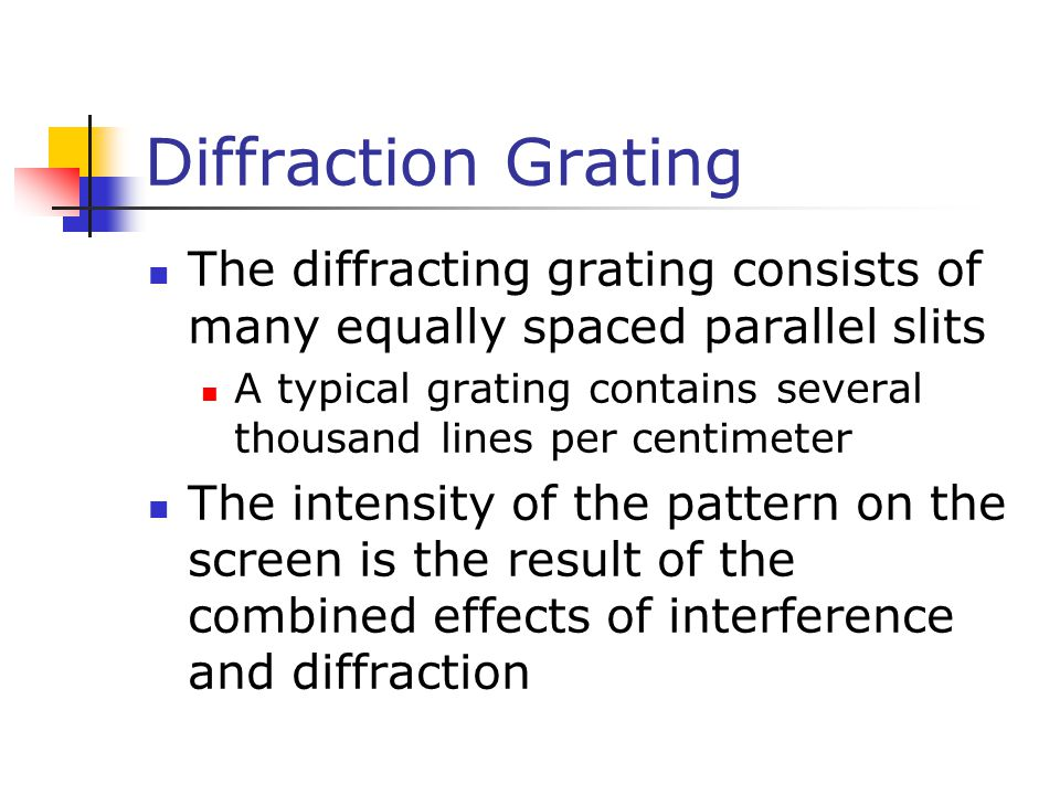 Diffraction Grating The diffracting grating consists of many equally spaced parallel slits A typical grating contains several thousand lines per centi